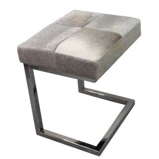 Modern Gray Cowhide Chrome Stool For Sale