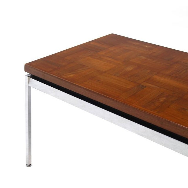 Early 20th Century Solid Stainless Steel Heavy Base Rectangular Coffee Table with Parquet Top For Sale - Image 5 of 7