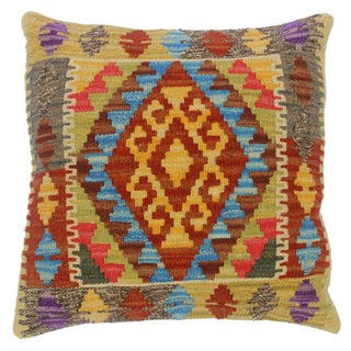 """Clemente Gold/Lt. Blue Hand-Woven Kilim Throw Pillow(18""""x18"""") For Sale"""