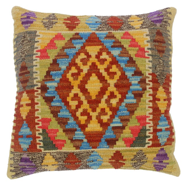 "Clemente Gold/Lt. Blue Hand-Woven Kilim Throw Pillow(18""x18"") For Sale"