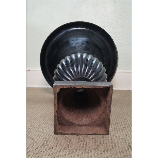 Classic French Style Black Cast Iron Urns - A Pair - Image 9 of 10