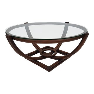 Paul Frankl Style Round Rattan Coffee Table .