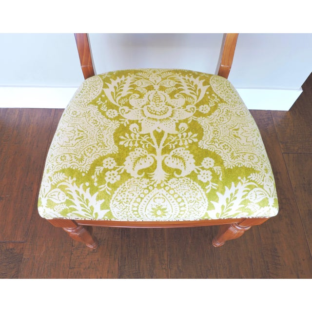 Early 21st Century Green and Cream Linen Batik Print Side Chair For Sale - Image 5 of 8