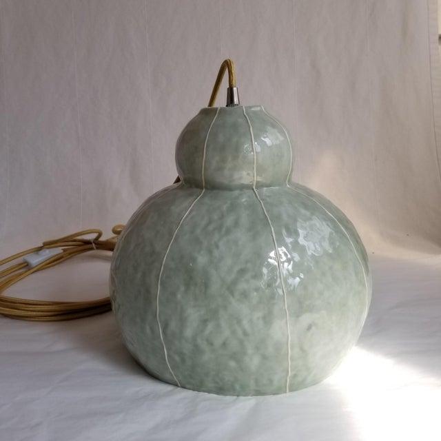 Modern Handmade Celadon Ceramic Pendant Light For Sale In Seattle - Image 6 of 7