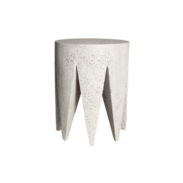 Cast Resin 'King Me' Side Table, Aged Stone Finish by Zachary A. Design For Sale
