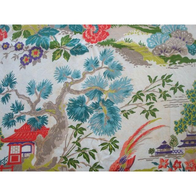 Chinoiserie Pagoda Cotton Fabric - 4.8 Yards - Image 5 of 6