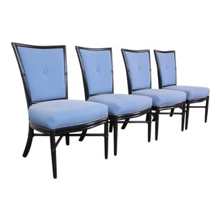 Barbara Barry for McGuire Rattan Upholstered Dining Chairs, Set of Four For Sale