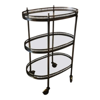 Brushed Pewter 3 Tier Bar Cart For Sale