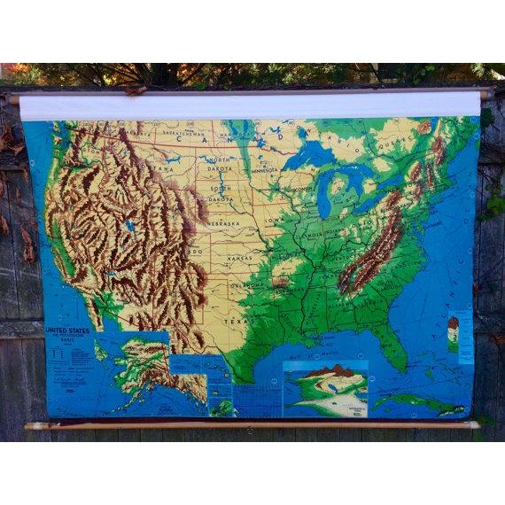 1960s Weber Costello Hanging United States Map - Image 2 of 6