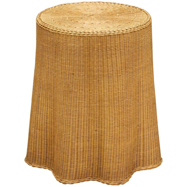 Trompe l'Oeil Rattan Draped Wicker Ghost Entryway Table Pedestal Mid-Century For Sale - Image 9 of 9