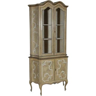 1950s Italian Hand-Painted Tall Cabinet/Vitrine For Sale