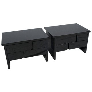 Pair of Black Lacquer Side Tables or Nightstands For Sale