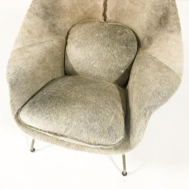 Mid-Century Modern Vintage Eero Saarinen Womb Chair Reupholstered in Brazilian Cowhide For Sale - Image 3 of 11