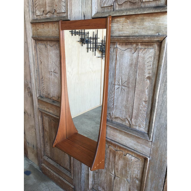 Brown 1960s Vintage Walnut Entry Mirror For Sale - Image 8 of 11