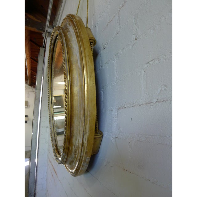 Distressed Gilt Oval Antiqued Mirror Hung by Rope For Sale In Los Angeles - Image 6 of 11