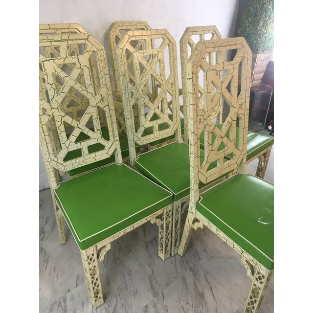 Chinoiserie Palm Beach Style Chinoiserie Dining Chairs, Set of Six For Sale - Image 3 of 12