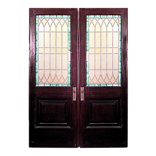 English Gothic Fainted Wood and Glass Doors For Sale