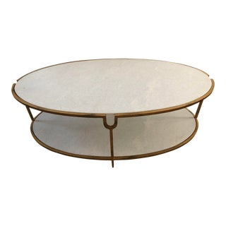 Marble and Iron Coffee Table For Sale