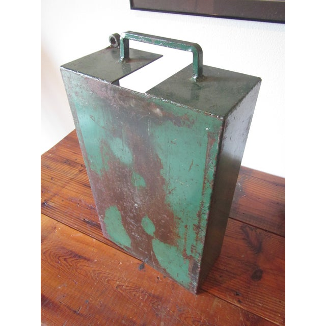 Vintage Industrial Green Painted Steel Drawer Bin Firewood Holder - Image 8 of 8