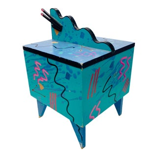 1980s Hollis Fingold Blue Memphis Style Cube Jewelry Box For Sale