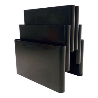 Black Kartell Magazine Rack With 6 Compartments by Giotto Stoppino For Sale