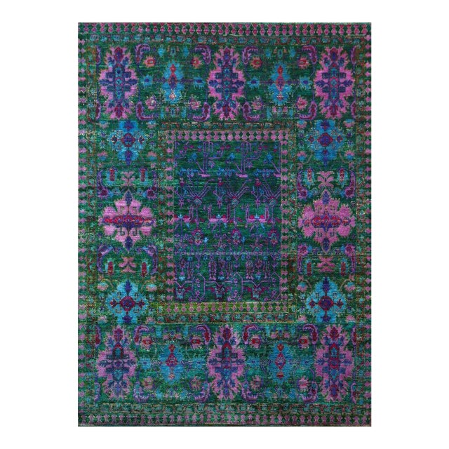 Vintage Mid-Century Hand-Knotted Floral Rug - 7′9″ × 9′7″ For Sale