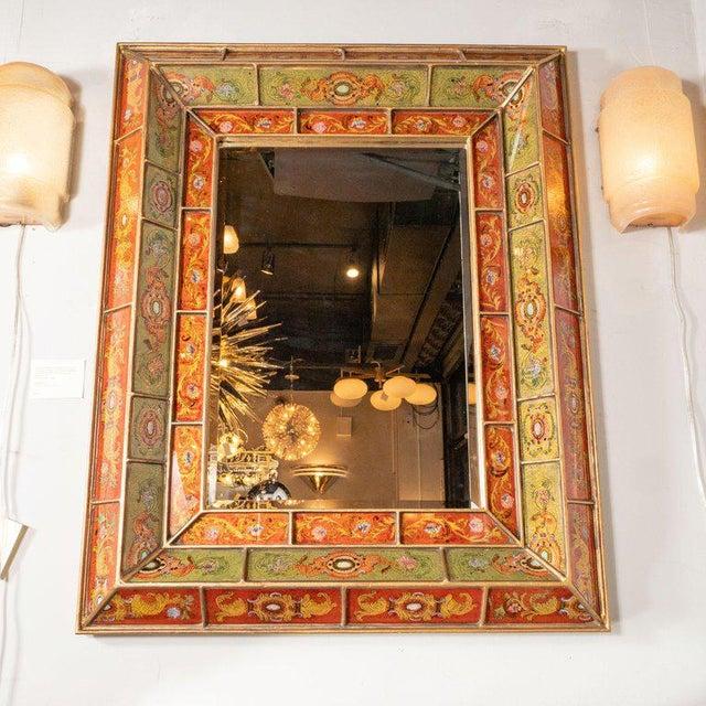 Mid-Century Modern Mid-Century Modern Reverse Églomisé Gilded Venetian Shadowbox Mirror For Sale - Image 3 of 6