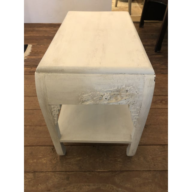 Chinoiserie Chinese Whitewashed Painted Rectangular Low Side Table For Sale - Image 3 of 13