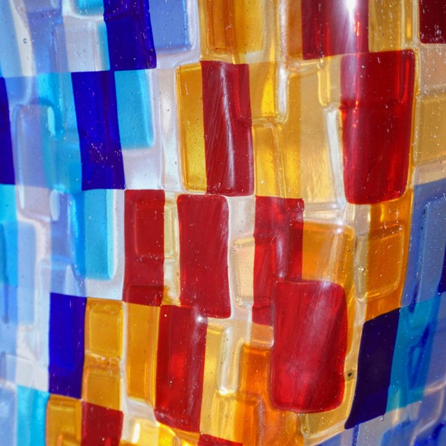 Contemporary Italian Aqua Blue Red Yellow Murano Glass Mosaic Sculptural Lamp For Sale - Image 4 of 11