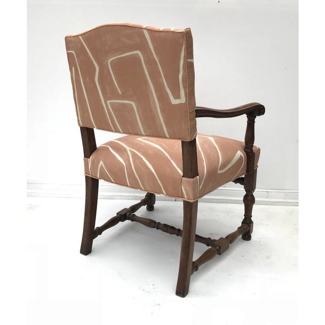 French Renaissance Revival Lounge Chair in Graffito Fabric For Sale - Image 6 of 12