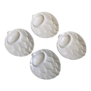 White Artichoke Shaped Appetizer Plates - Set of 4