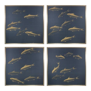 Metallic Gold Koi Fish Painted on Deep Blue Silk, Quadriptych For Sale