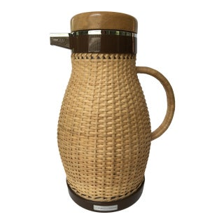 Vintage Woven Wicker Wrapped Thermos Pitcher For Sale