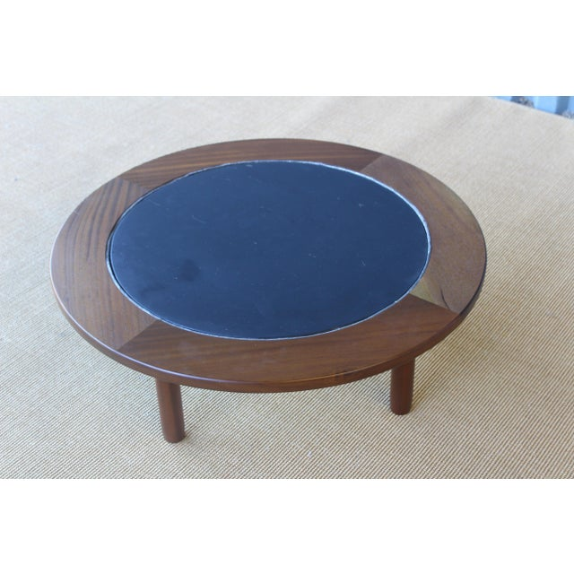 Brown Mahogany Coffee Table With Slate Top For Sale - Image 8 of 9