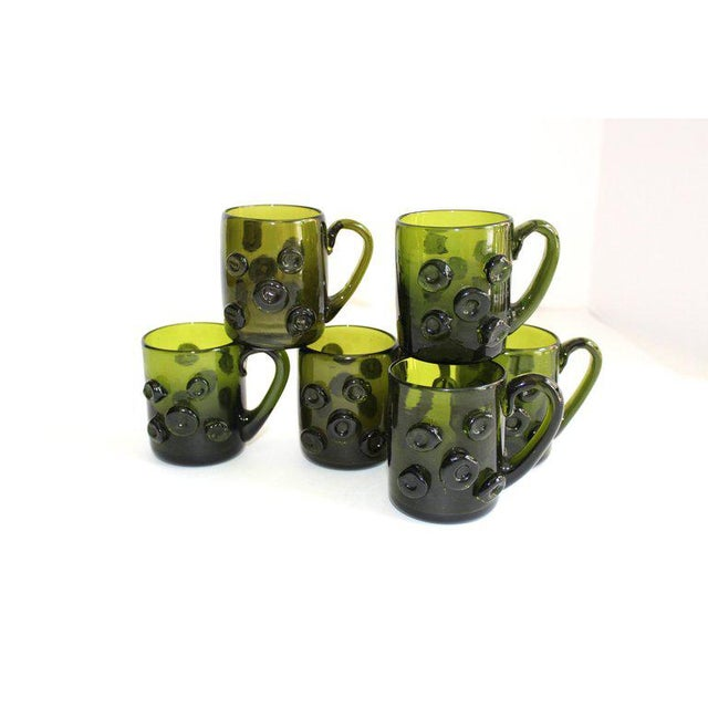 Set / 6 Mid Century Modern Glass Espresso Cups With Prunt Details For Sale - Image 4 of 13