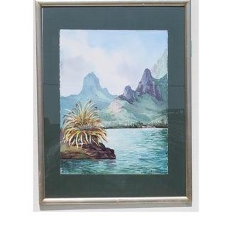 1980s Realist Tahiti Art Watercolor Painting For Sale