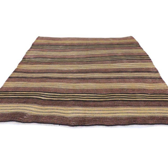 74875 Distressed Vintage Turkish Kilim Rug with Bayadere Stripes, Flat-Weave Striped Square Rug 04'05 x 04'08. This hand-...