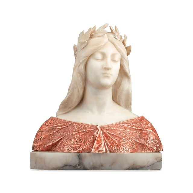 This bust of a classical maiden in repose was created by Italian sculptor Giuseppe Gambrogi. Crafted of elegant alabaster...