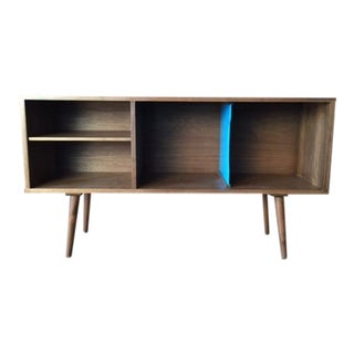Mid-Century Style Custom Walnut Record Bar Credenza For Sale