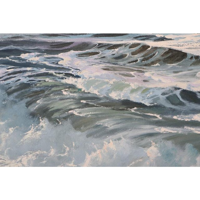 "Blue Oil on Canvas, ""Shore Line at High Tide"" Large Scale Painting by Robert P. Wheeler For Sale - Image 8 of 11"