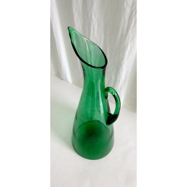 Modernist Green Blenko Vase Pitcher - Image 3 of 6