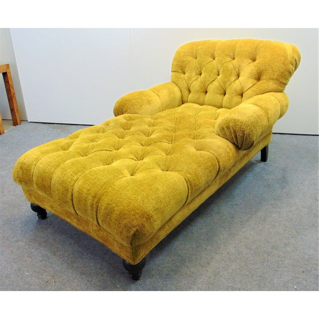 Schumacher Regency Style Yellow Tufted Chaise Lounge For Sale - Image 9 of 9