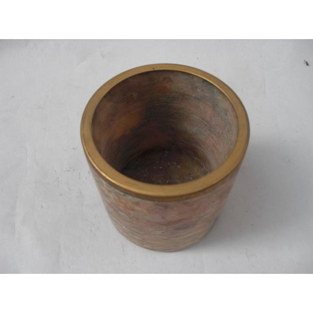 Mid-Century Style Carved Marble & Brass Container - Image 4 of 4