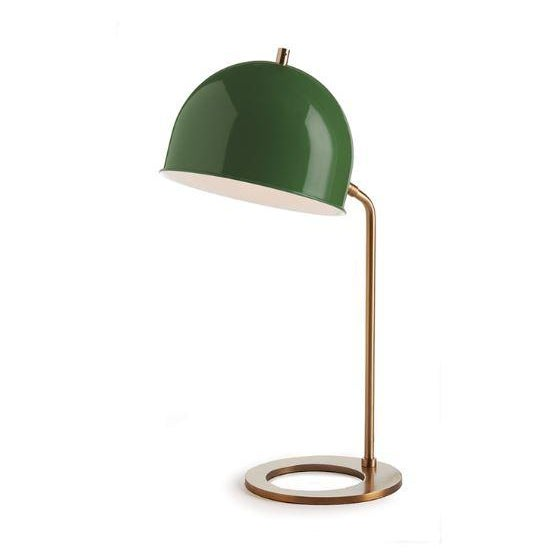 Modern Kenneth Ludwig Chicago Clive Emerald & Brass Lamp For Sale - Image 3 of 3