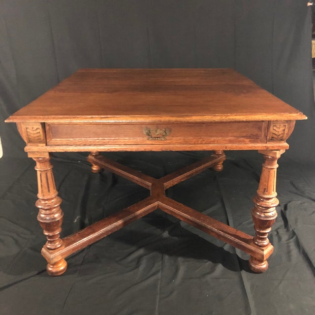 Carved Oak Arts and Crafts Art Deco French Expandable Dining Table For Sale - Image 13 of 13