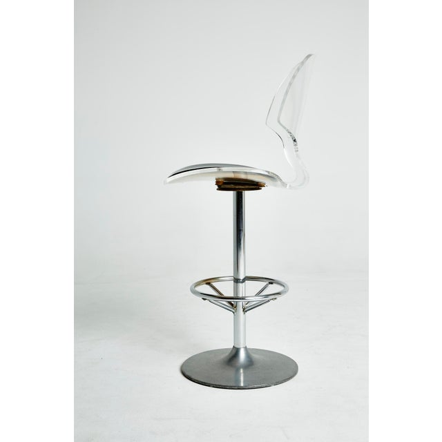 Set of Six Lucite Bar Stools For Sale In Los Angeles - Image 6 of 8