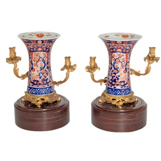 Pair of 19th Century Ormolu Mounted Imari Vases With Mahogany and Marble Stands For Sale