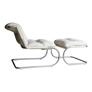 Modernist Chrome Lounge Chair + Ottoman After Mies Van Der Rohe's 30/5, Set of 2 For Sale