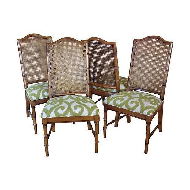 1970s Dixie Faux Bamboo & Cane Side Chairs - Set of 4 For Sale - Image 5 of 5