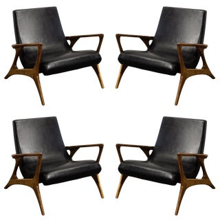 Mid-Century Style Teak and Leather Club Chairs For Sale